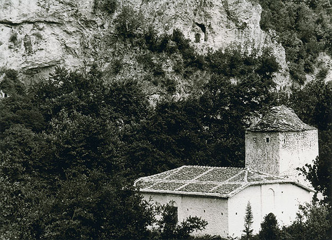 old photo showing also the ascetic caves on the mountain