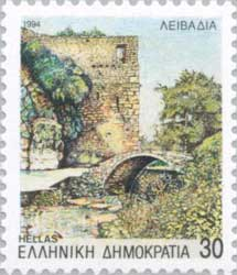 Greek stamp with the Castle of Livadia