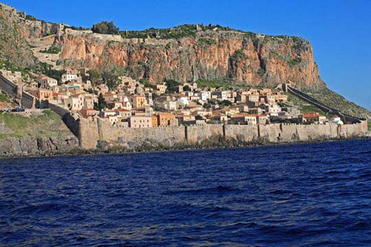 View of Monemvasia from the sea