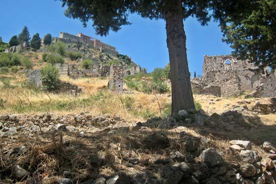 The ruins of Mystras and the Palace
