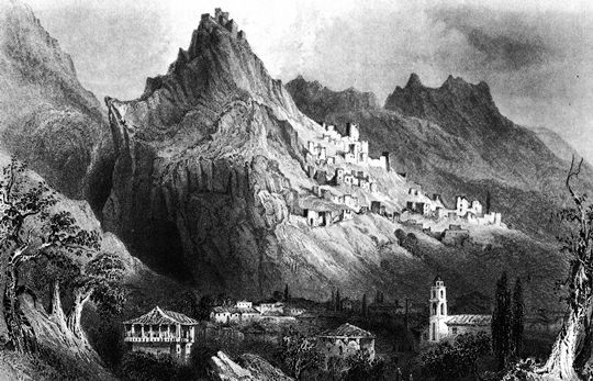 Mystras around 1850. Drawing by W.H. Bartlett
