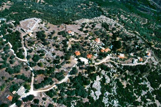 Polyneri-aerial view. The village and the castle